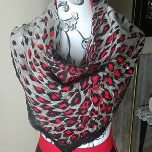 Fashion Scarf, Red, Gray and Black scarf, sqare.